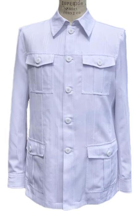 Men's Safari Walking Suit - Leisure Suit White