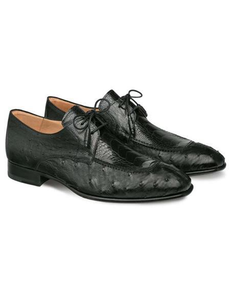 Mezlan Brand Mezlan Men's Dress Shoes Sale Mezlan Men's Black Genuine Ostrich Quill and Ostrich Paw Men's Blucher