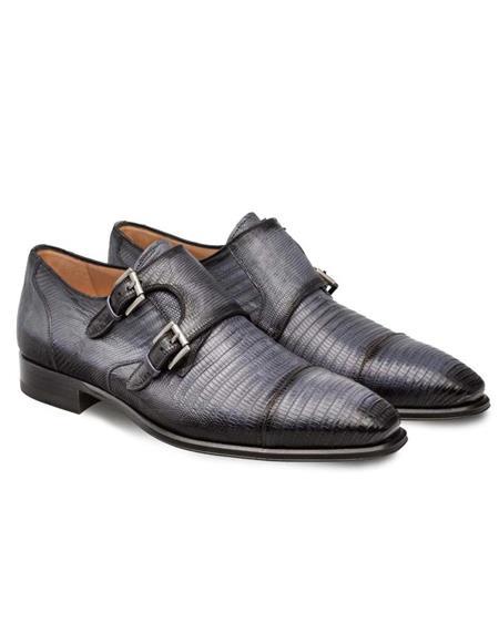 Mezlan Brand Mezlan Men's Dress Shoes Sale Mezlan Grey Cap Toe Dress Double Monk Men's Shoes