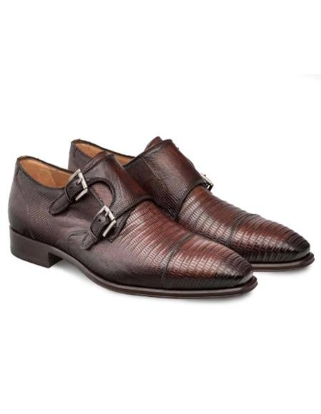 Mezlan Brand Mezlan Men's Dress Shoes Sale Mezlan Cognac Cap Toe Dress Double Monk Men's Shoes- Men's Buckle Dress Shoes