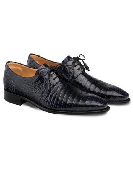 Mezlan Brand Mezlan Mens Dress Shoes Sale Mezlan Mens Moscow Blue Genuine Full Alligator Mens Plain Toe Oxford
