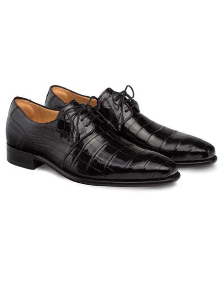 Mezlan Brand Mezlan Men's Dress Shoes Sale Mezlan Men's Moscow Black Genuine Full Alligator Men's Plain Toe Oxford
