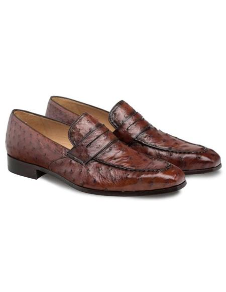 Mezlan Brand Mezlan Men's Dress Shoes Sale Mezlan Men's Brandy Genuine Ostrich Men's Classic Slip On