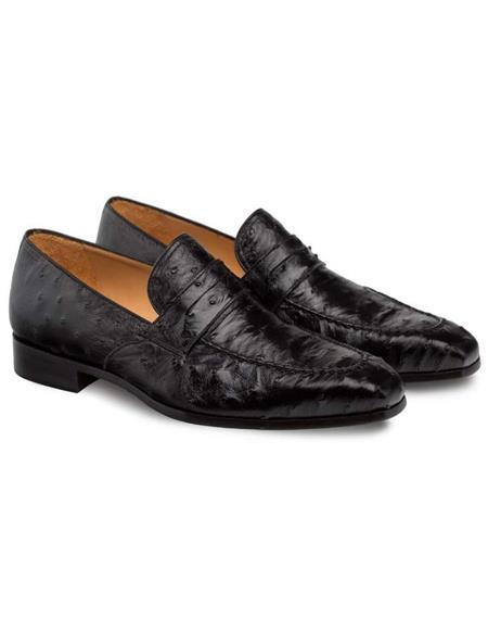 Mezlan Brand Mezlan Men's Dress Shoes Sale Mezlan Men's Black Genuine Ostrich Men's Classic Slip On