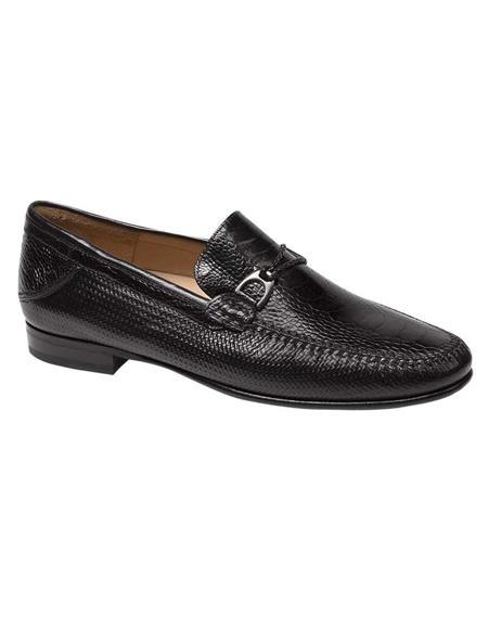 Mezlan Brand Mezlan Men's Dress Shoes Sale Mezlan Men's Black Nappa and Ostrich Leather Stylish Dress Loafer