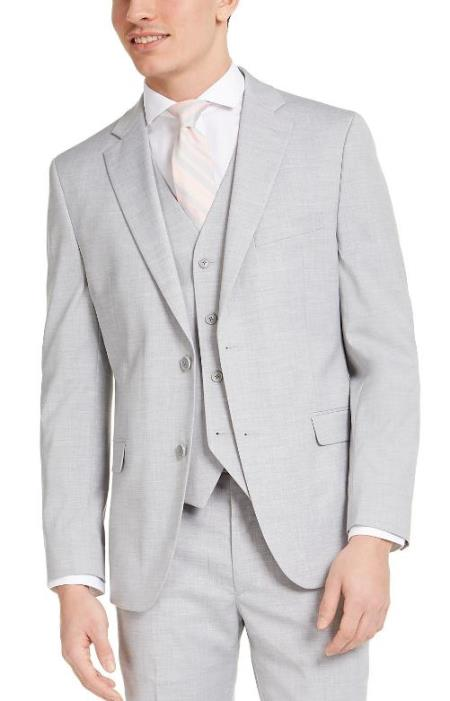 Slim Fit 2 Button Light Grey - Silver Gray Wedding Suit
