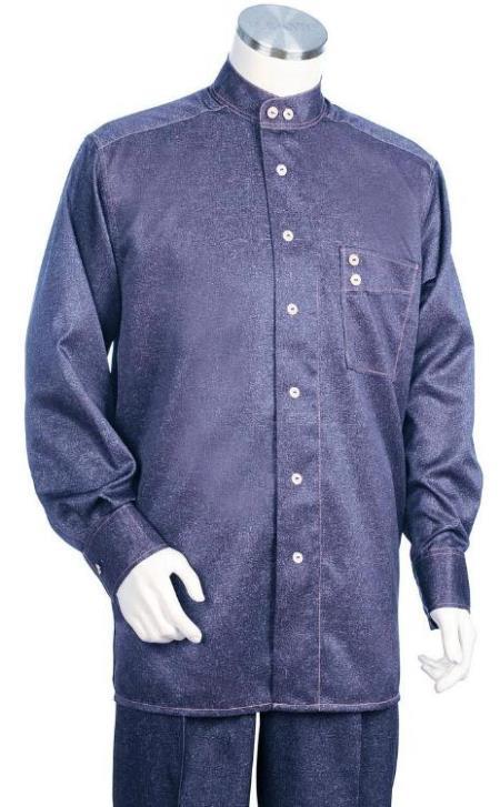 Banded Collar Less Mandarin Shirts - Walking Suits
