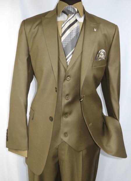 Falcone Men's Light Brown Style Suit