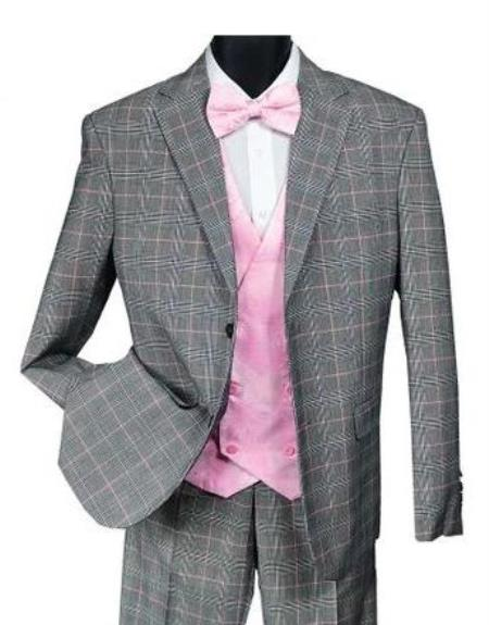 Falcone Mens Black and Pink Plaid Suit