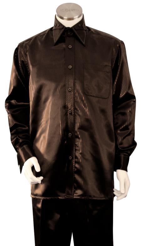 Men's Brown Point Collar Walking Silk Leisure Suit