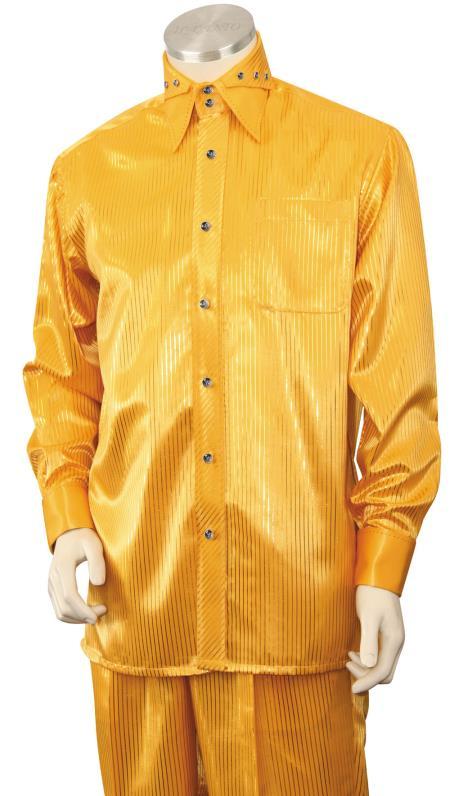 Men's Gold Button Fastening Walking Silk Leisure Suit