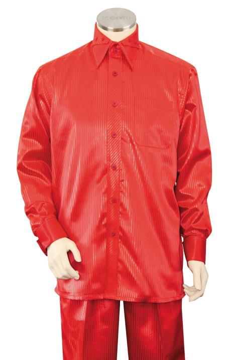 Sateen Shirt and Pants Men's Walking Suit - Silk Leisure Suit Red