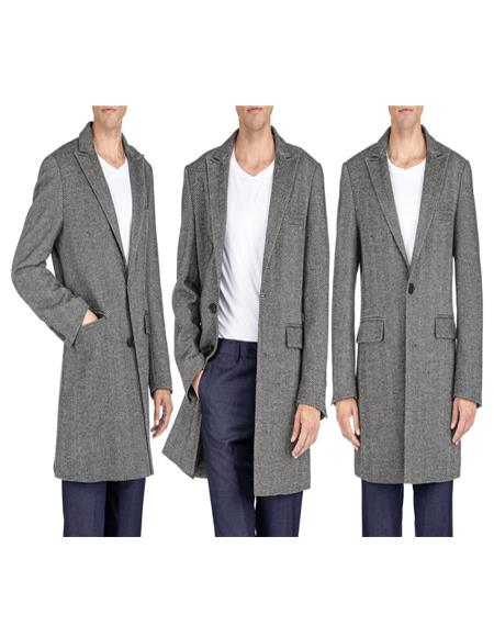 Herringbone Overcoat - Tweed Coat Three Quarter Mid Length Black