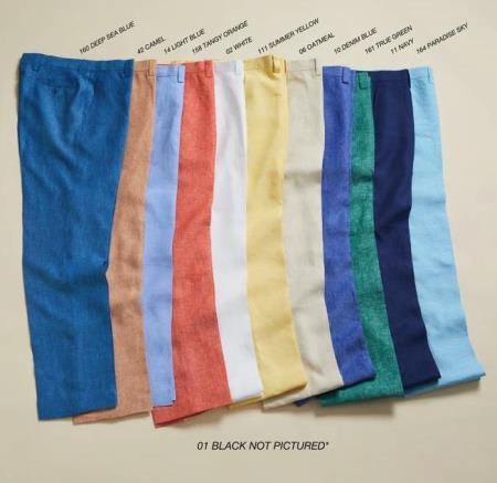 Linen Fabric Flat Front Pants Pastel Colorful Colors LT.Blue