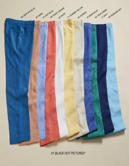 Linen Fabric Flat Front Pants Pastel Colorful Colors Denim Blue