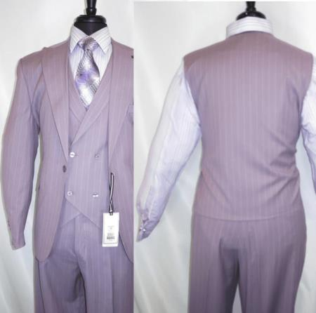 Three Piece Suit For Men Lavender Pinstripe Suit - Lilac Stripe - Sumner Suit By Stacy Adams