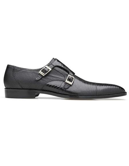 Men's Belvedere Pablo Black Shoes-Men's Buckle Dress Shoes