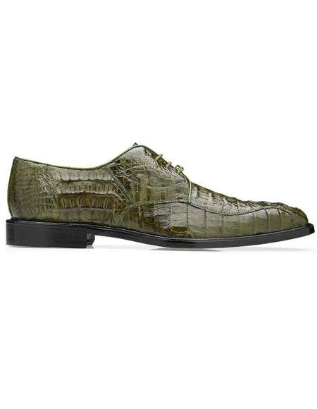 Mens Belvedere Chapo Olive Genuine Hornback Crocodile Shoes