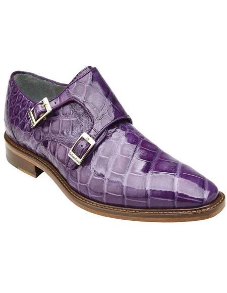 Mens Belvedere Lavender Genuine Alligator Shoes