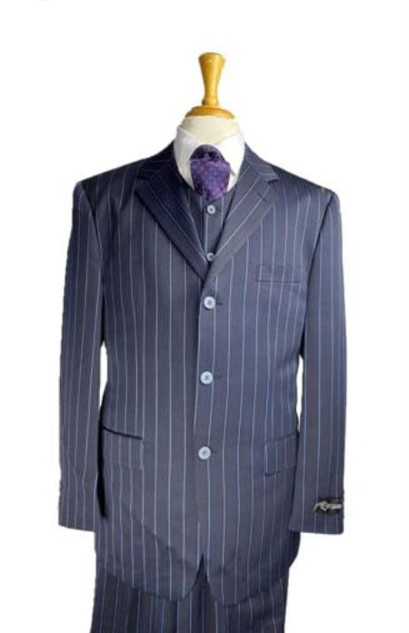 Three Buttons Bold Chalk Pinstripe Navy Blue Pinstripe Suit With Vest Three Pieces