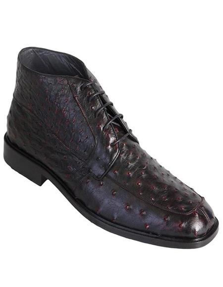 Los Altos Short Cowboy Boot - Western Ankle Boots Exotic Skin + Black Cherry + Skin Type