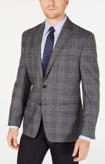 Men's Plaid Windowpane Checker Slim Fit Blazer Grey