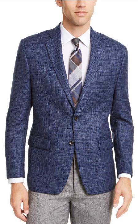 Men's Plaid Windowpane Checker Slim Fit Blazer Blue