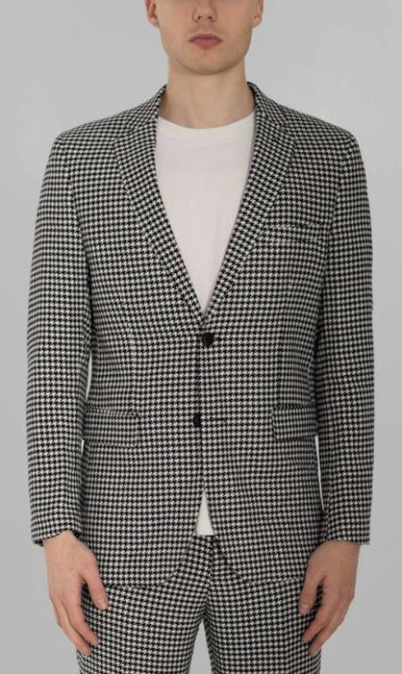 Black And White Checkered Suit - Gray Checkered Texture Houndstooth Six Button Suit Black and White - Black And White Checkered Suit