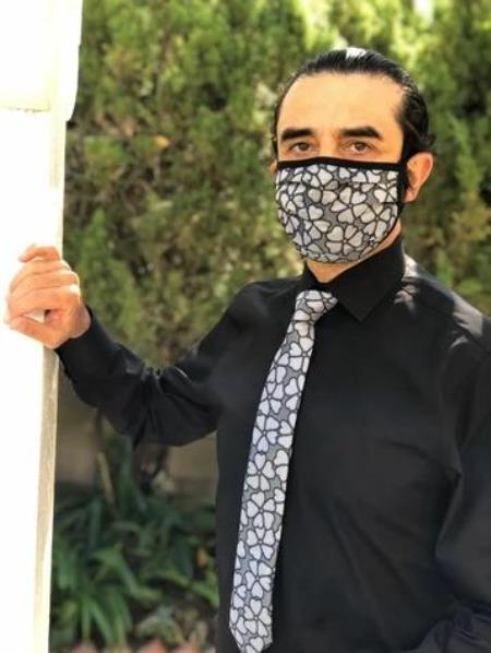 Protective Face Mask and Matching Tie Set Grey