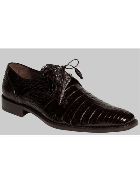 Mens Full Black Crocodile Uppers Shoes