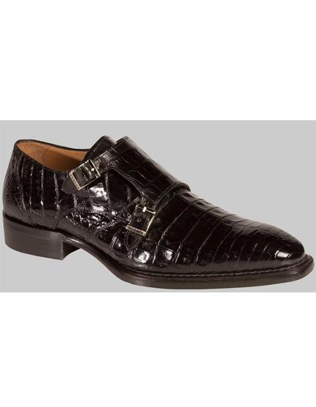Mezlan Brand Mezlan Men's Dress Shoes Sale Men's double monk strap shoes Men's All Over Black Crocodile Shoes-Men's Buckle Dress Shoes