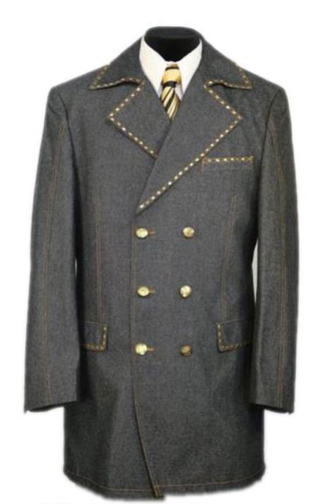 Men's Black Brass Buttons Closure Denim Blazer