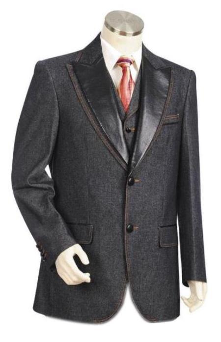Men's Black  Peak Lapel Denim blazer