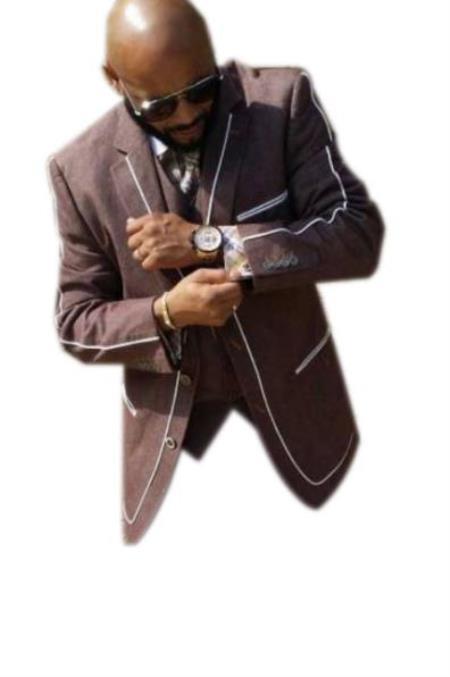 Men's Dark Brown Two Button Denim Jacket