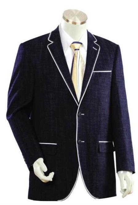 Mens Dark Blue Two Buttons Style Denim blazer