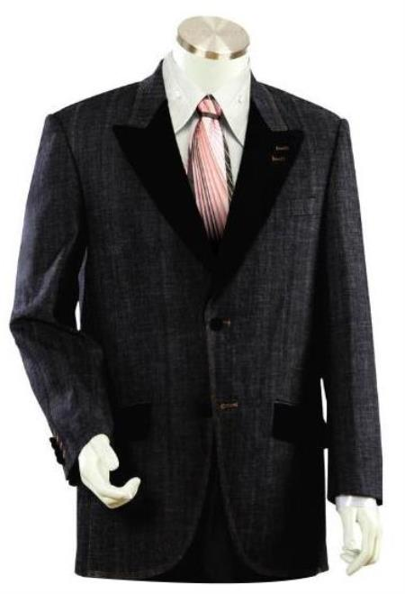 Men's 2 buttoned Denim Black Denim Suit
