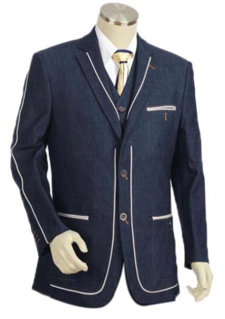 Men's Denim Cotton Fabric Trimmed Two Tone Blazer
