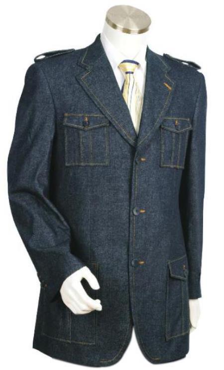Mens Stylish Blue Fashion Denim blazer