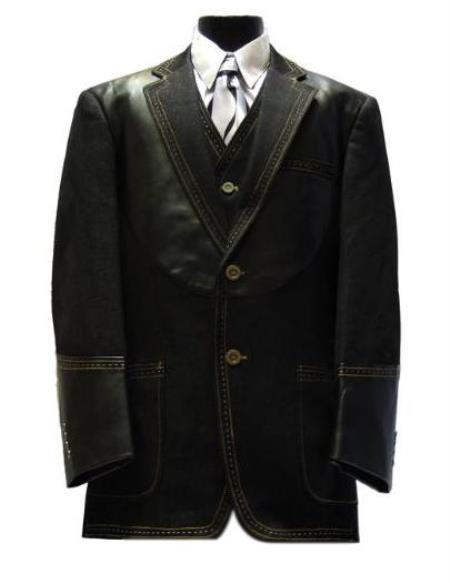 Mens Leather Contrast Stitch Trims Denim blazer