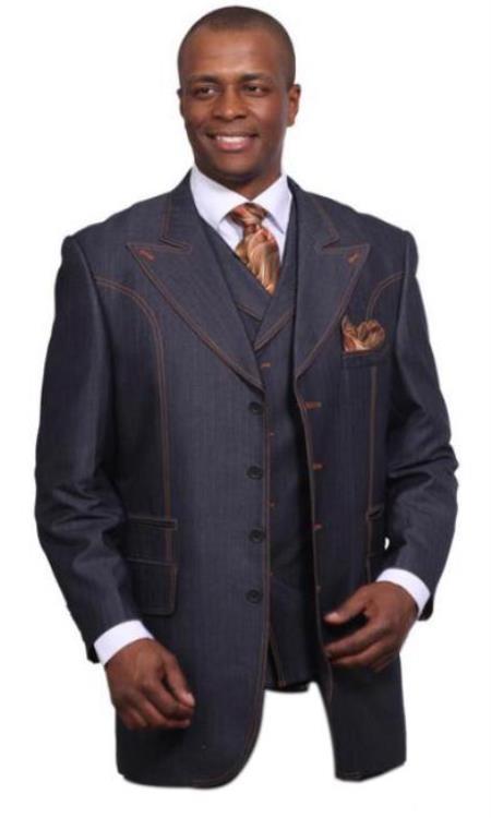 Mens 3 Piece Denim Suit with Wide Lapels Denim blazer