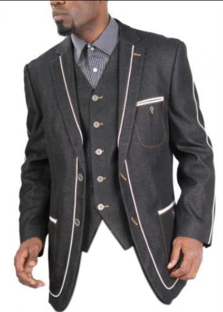 Men's three patch pockets Fully lined Denim blazer