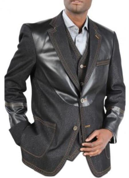 Men's double breasted loose fitting Denim blazer