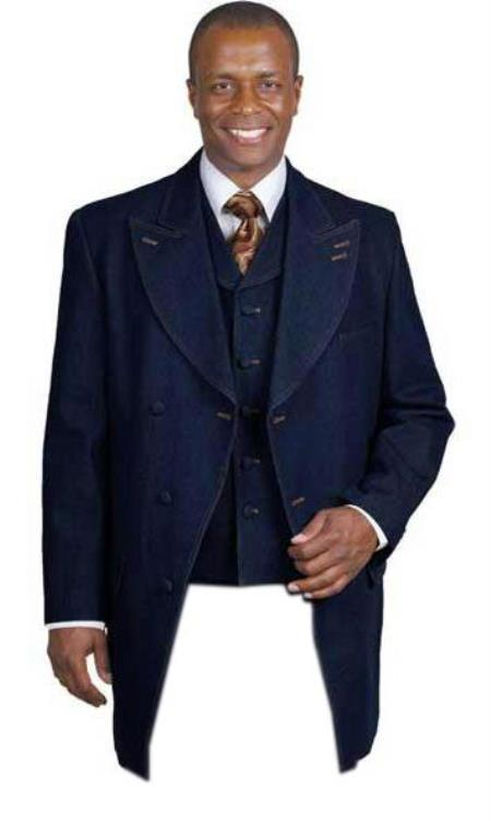 Men's Flap Front Pockets 3 Piece Jean Denim blazer