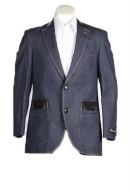 Men's Fashion 2 Button  Denim blazer