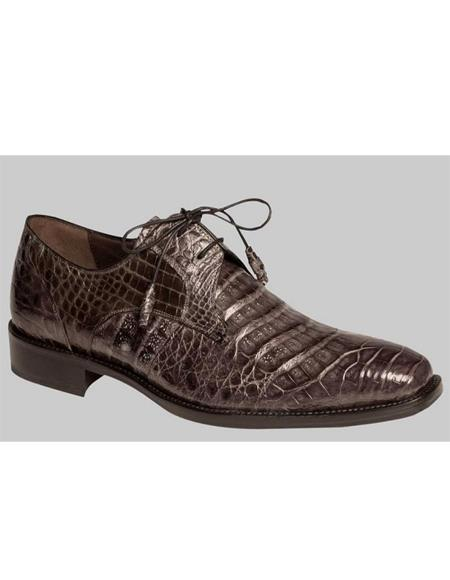 Mezlan Brand Mezlan Men's Dress Shoes Sale Men's Gray Genuine Crocodile Skin Shoes
