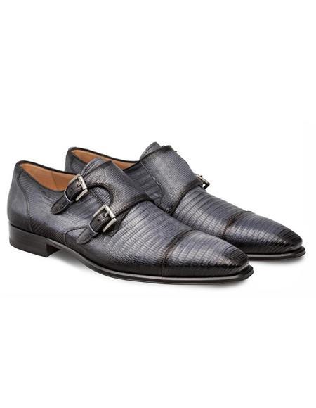 Mezlan Brand Mezlan Men's Dress Shoes Sale Men's double monk strap shoes Men's Gray Lizard Skin Shoes