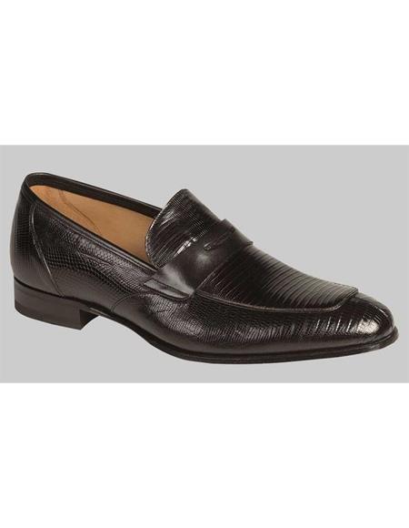 Mezlan Brand Mezlan Men's Dress Shoes Sale Men's Black Lizard Skin Shoes