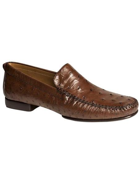 Mezlan Brand Mezlan Mens Dress Shoes Sale Mens Sport Brown Ostrich Skin Shoes