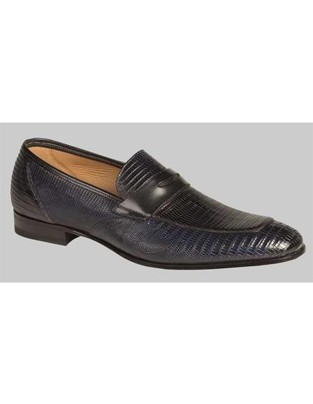 Mens Navy Blue Lizard Fully Hand Made Skin Shoes