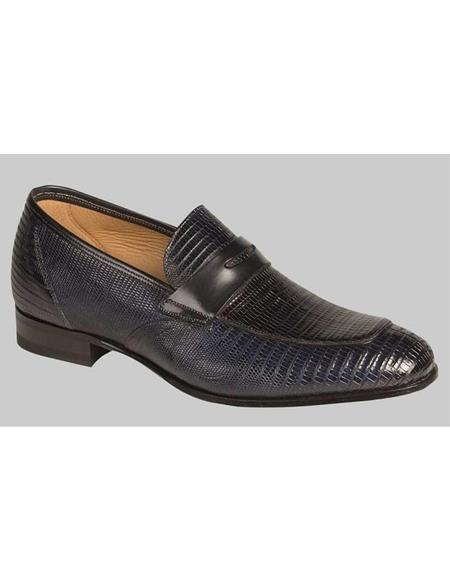 Mezlan Brand Mezlan Men's Dress Shoes Sale Men's Navy Blue Lizard Full Glove Leather Lining Skin Shoes